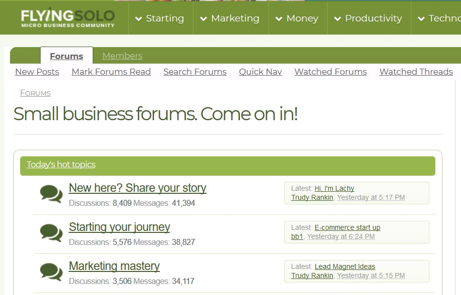 Find answers to your business questions on Flying Solo forums